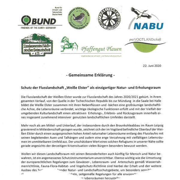 """Faksimile der Erklärung von Naturschutzverbänden zum Schutz der Flusslandschaft """"Weiße Elster"""" im Vogtland"""