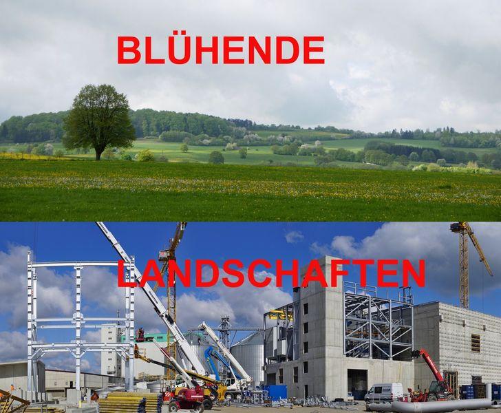 Naturlandschaft und Industrielandschaft treffen aufeinander