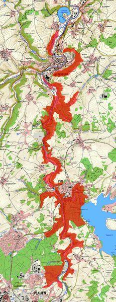 """Eine Übersichtskarte mit den rot eingefärbten Flächen des neuen Naturschutzgebietes """"Elstersteilhänge nördlich von Plauen"""