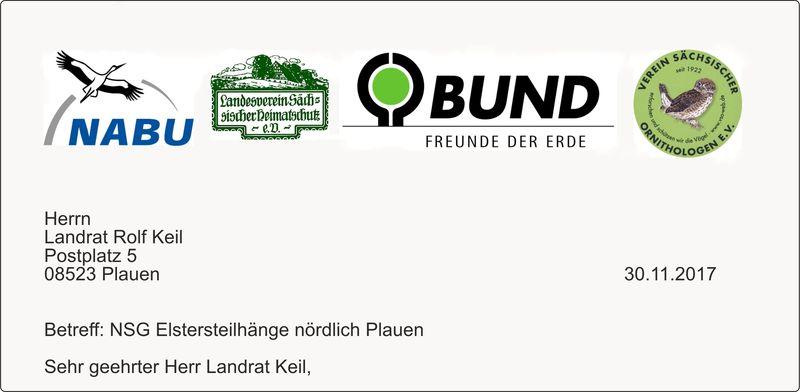 Ein Brief an den Landrat zum Naturschutzgebiet Elstersteilhänge